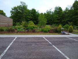 Parking lot view of garden.