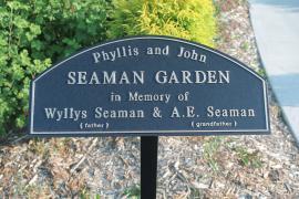 Entrance sign to the Phyllis and John Seaman Garden