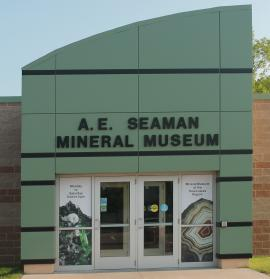 Outer entrance to the main building of the museum with patina green color