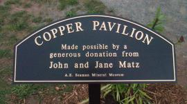 Entrance sign for the Copper Pavilion.
