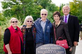 Dedication of the museum garden in the names of Phyllis and John Seaman - 2014. Left to right, Karla Aho, Michigan Tech Advancement; Donna Cole, niece of John Seaman; John (Jack) Seaman; Gail Mroz, Michigan Tech Advancement; Glenn Mroz, President of Michigan Tech. Photo by S. Bird