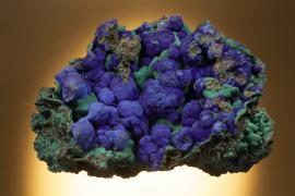 Azurite, Bisbee, Cochise County, Arizona. Velvety azurite on malachite from one of America's classic localities. Donor: E. Heinrich. Specimen 14 cm wide. Photo by C. Stefano. (DM 23095)