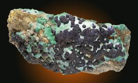 Azurite, Schwaz, Tyrol, Austria. An outstanding example of azurite from this 18th century locality rarely seen in U.S. collections. From the collection of Baron Louis Lederer. Specimen 12 cm wide. Photo by C. Stefano. (UM11786)