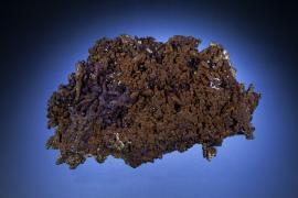 Cuprite, Copper, Mammoth Mine, Tiger, Arizona. Dark cuprite crystals with copper crystals. Specimen 12 cm wide. Photo by M. Schorr. (UM 5199)