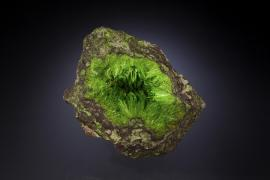 Cuprosklodowskite, Musonoi Mine, Katanga, Democratic Republic of the Congo. Named for Marie Curie (her maiden name was Sklodowska), cuprosklodowskite is one of the most beautiful of uranium minerals. Donor: M. Origlieri. Specimen 10 cm across. Photo by M. Schorr. (DM 31246)