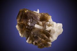 Fluorite and celestine, White Rock Quarry, Clay Center, Ohio. Clay Center is probably the best-known locality for fluorite in Ohio. Donor: P. and J. Clifford. Sepcimen 13 cm wide. Photo by M Schorr. (PJC 07030)