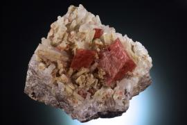 Rhodochrosite, Climax Mine, Lake Co., Colorado. Rare crystals of rhodochrosite on quartz crystals from a lesser known Colorado rhodochrosite locality. Donor: A. and C. Hammond in memory of E. Bekkala. Specimen 11.5 cm wide. Photo by C. Stefano. (DM 31235)