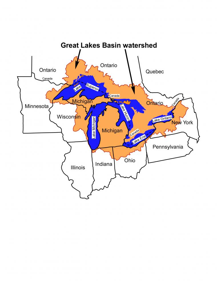Map of the Great Lakes Basin watershed.