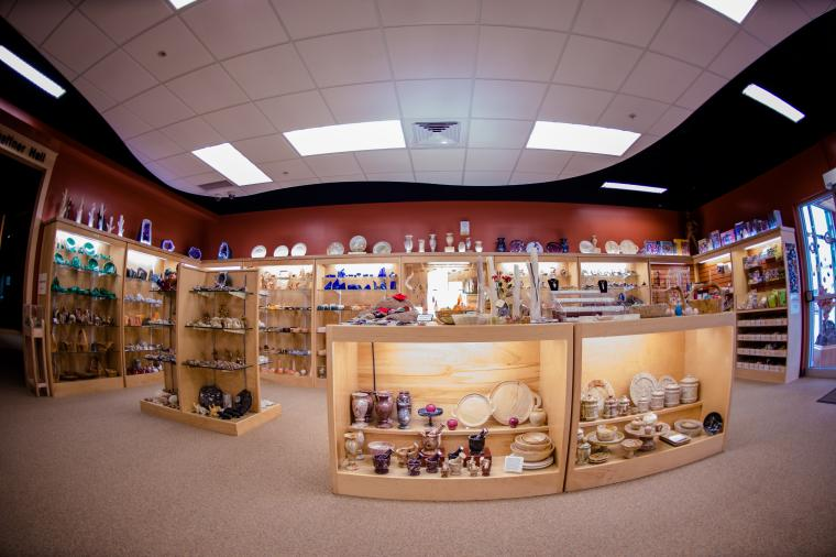 Bird's-eye view of part of the museum's on-site gift shop.